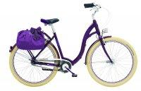 Miejski rower w kolorze fioletowym